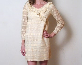 1960s LACE DOLLY mini dress, xs