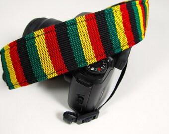 Rasta style Guatemalan yarn dye woven camera strap for all dSLR cameras with soft nylon backing