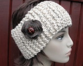 Womens Warm and Chunky Knitted Headband with Recycled Wool Flower