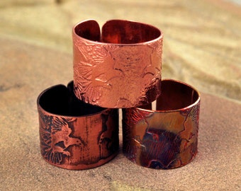 Etched Copper Magpie Ring - Adjustable size