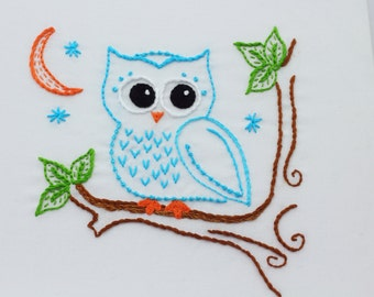 Owl Embroidery Pattern Hand Embroidery Pattern Owls Owl Design Woodland Nursery Decor