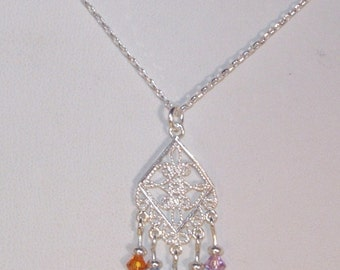 Sterling Silver and Swarovski Crystal Jewelry - Mothers, Grandmothers Necklace with up to 5 Birthstones