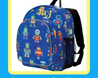Monogram Backpack and Lunch Bag - Wildkin - Robots - Preschool Day Pack Back to School