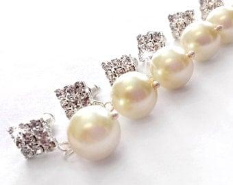 Bridesmaid Set - Pearl Crystal Earrings - Crystal Bridesmaid Earrings Set - Pearl Bridesmaid Earrings - Rhinestone Bridesmaid Earrings