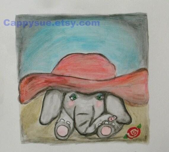 Elephant baby small original art