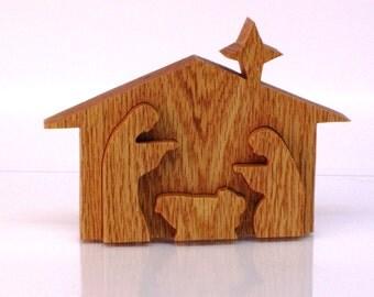 Wooden Nativity Scene, 3D Nativity Display
