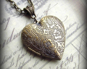 Heart Locket on EXTRA Long Chain in Antique Brass Finish, Vintage Style, Sweetheart Necklace