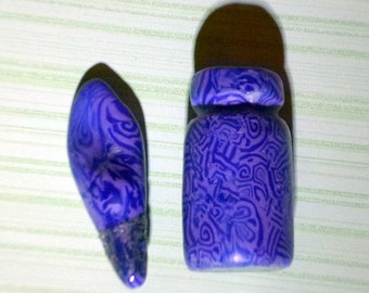 Handmade Mini Bottle with Lid - 1.5 inches - Blue Tribal