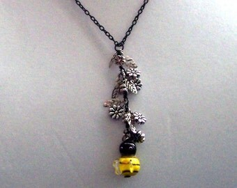 Bee Necklace Gift, Wire Wrapped Pendant, Bumble Bee and Flower Pendant Style Necklace