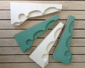 Charming Salvaged PORCH BRACKETS in White and Aqua Green, Victorian Brackets, Wood Porch Brackets, Gingerbread,Shabby Architectural Salvage