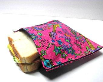 Reusable Sandwich Bag  Sandwich Tote Eco Lunch Storage Rock Star Tween Sandwich Bag