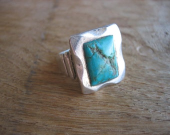 Vintage NAVAJO TURQUOISE SQUARE .925 Sterling Silver Ring
