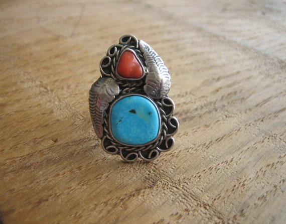 Vintage PAWN Sterling Silver Turquoise & Jasper FEATHER Ring