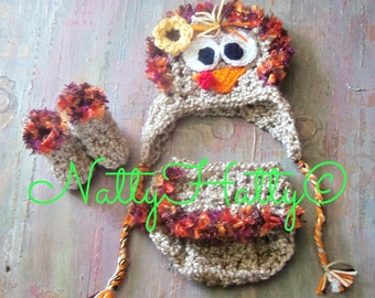 Turkey Hat diapercover and boots /Thanksgiving Handmade crochet Newborn to 18 months
