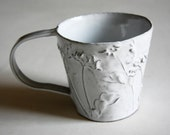 Rustic Chic Tin-glazed Ceramic Coffee / Hot Chocolate Mug with wild flower details (No.8)