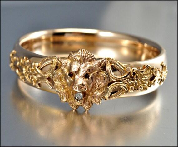 Victorian Bracelet 12k Gold Filled Lion Bangle By Boylerpf
