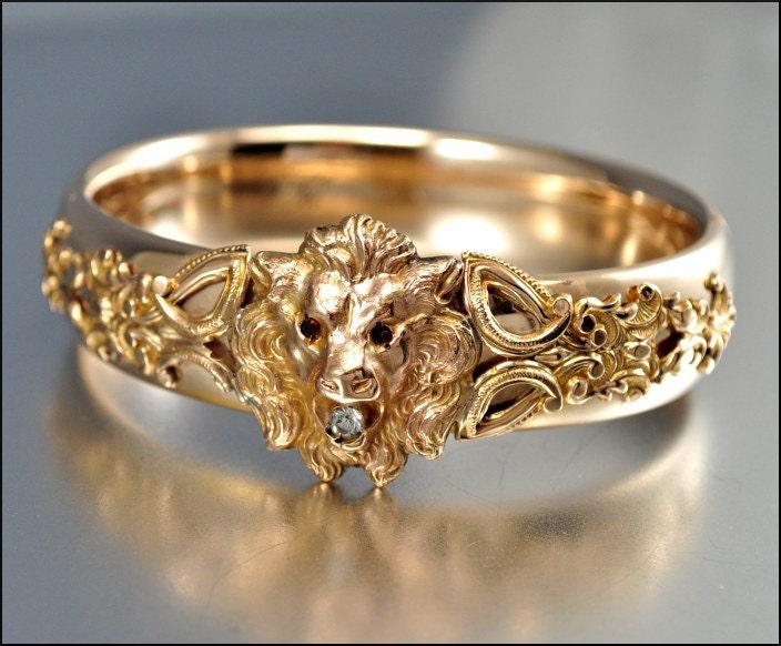 Victorian Bracelet 12k Gold Filled Lion Bangle Bracelet
