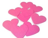 Hot Pink Paper Hearts Package Of 10