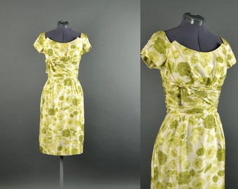 1950s Dress / floral dress / 50s Dress / Vintage 1950s Dress / designer Jane Andre wiggle dress