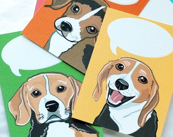 Convo Beagle Flat Notecards - Eco-friendly Set of 5