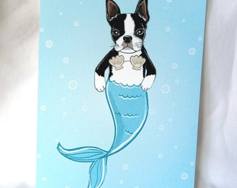 Mermaid Boston Terrier - Eco-Friendly 5x7 Print
