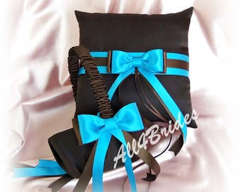 Wedding basket and wedding pillow, chocolate brown and turquoise ring bearer pillow and flower girl basket set.