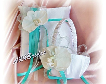 Wedding ring pillow and flower girl basket, spring weddings, aqua blue and white orchids wedding accessories
