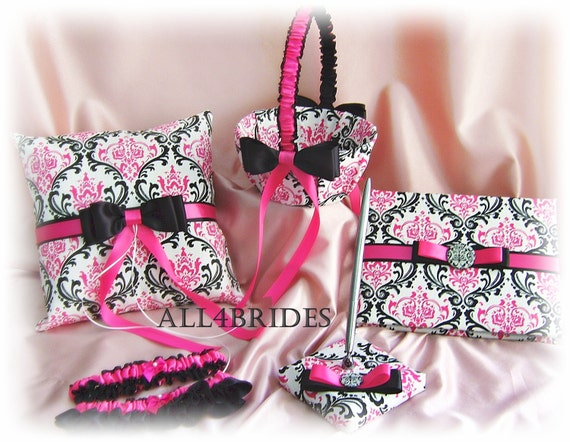 Items similar to Hot pink and black Madison damask wedding ring pillow baske