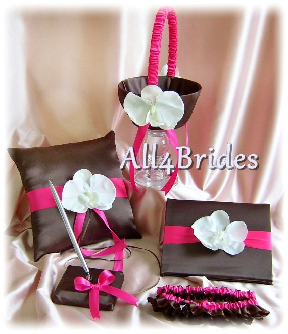 Hot pink and brown weddings ring pillow, basket, bridal garters, guest book and pen set, white silk orchids