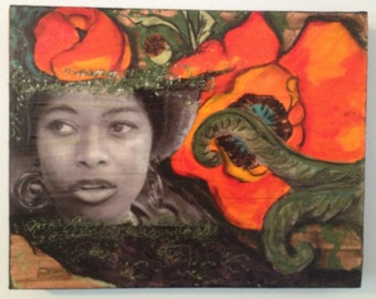 Framed Alice Walker Mixed Media Painting with Orange Poppies