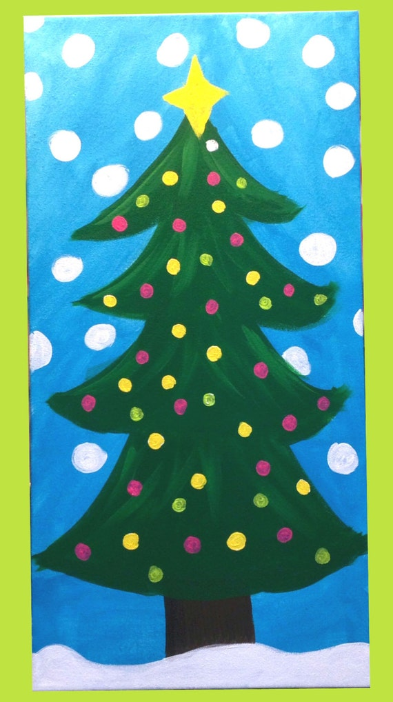 Items similar to Whimsical Christmas tree Canvas on Etsy