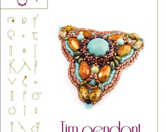 beading pattern  Pendant tutorial / pattern Tim pendant ..PDF instruction for personal use only