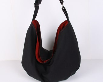 Hobo Bag ,handbag , Shoulder bag , Tote bag ,everyday bag Dark Gray with claret red lining