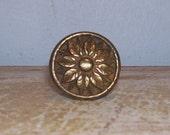 Brass Knob Vintage Pull Handle Rosette Flower French Hardware