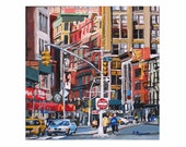 New York Art Manhattan NYC Art Wall Decor NYC Fine Art Print  8x8,  Union Square Cityscape Painting by Gwen Meyerson