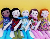 Custom Made Cloth Doll, you choose hair, eye, skin and dress color