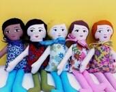 Custom Made Cloth Doll, you choose hair, eye, skin and dress color
