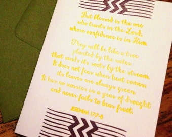 Bible Verse (Jeremiah 17:7-8) Letterpress Greeting Card (Various Colors Available)