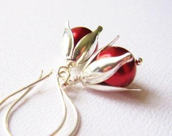 Crimson Pearl Earrings Sterling Silver 925, Red Pearl Earrings, Wine Pearls, Sterling Silver Earrings