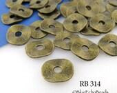 Antique Brass Potato Chip Beads Small 9mm Wavy Disks Antique Bronze (RB 314) 18 pcs BlueEchoBeads