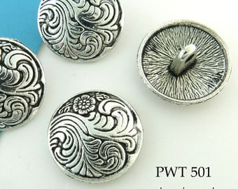 Floral Swirl Pewter Button 17mm  Antiqued Silver (PWT 501) blueecho 6 pcs