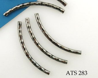 Gunmetal Curved Tube Bead Antiqued Silver Noodle Bead Pattern 44mm (ATS 283) 5 pcs BlueEchoBeads