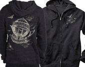 Steampunk Hoodie, Vintage Airship Hot Air Balloon Charcoal Heather unisex Graphic Hoodie, Gift