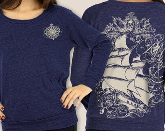 Pirate Ship Women's long sleeve shirt, Vintage Steampunk Tall Ship, Raglan Pullover, Slouchy Sweatshirt, Gift, Art T-shirt, Cool t-shirt