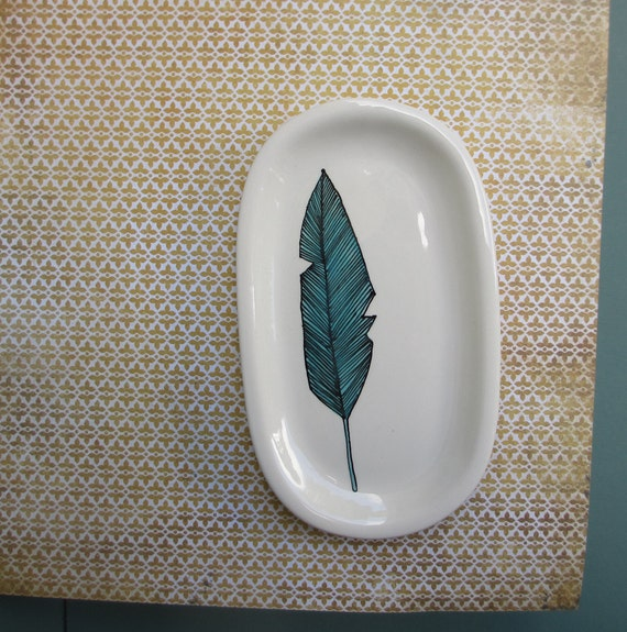 Blue bird feather ceramic tray / plate, fall tribal blue bird feather spoon rest, soap dish for him