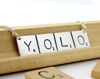 YOLO Necklace - Scrabble Inspired - Hand Stamped and Personalized Sterling Silver Initial Tile Necklace - Words with Friends Inspired