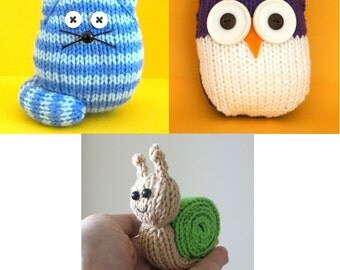 Quick and Easy 3 pack - Cats, Owls and Snail - INSTANT DOWNLOAD PDF Knitting Pattern