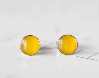 Saffron Yellow Round Resin Stud Earrings - Sunflower Egg Yolk Yellow Post Earrings