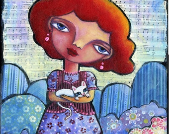 Can I Keep Him 11 X 14 acrylic and paper on canvas, folk art, White Cat red haired girl Mixed Media