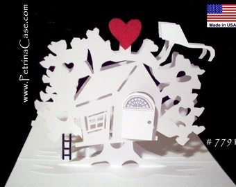 Tree House Pop-Up Card 180 degrees- with kite and ladder -  Design 7791